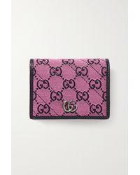 Gucci Gg Marmont Multicolour Portemonnaie Aus Jacquard Und Leder - Pink