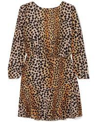 RIXO London Kyla Leopard-print Silk Crepe De Chine Mini Dress - Brown