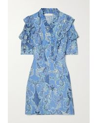 See By Chloé Ruffled Printed Silk Mini Dress - Blue