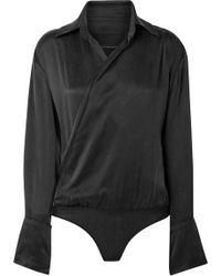 Kiki de Montparnasse - Wrap-effect Washed-silk Bodysuit - Lyst