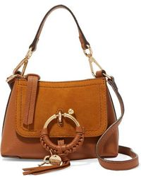 See By Chloé Joan Mini Textured-leather And Suede Shoulder Bag - Brown