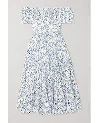 Agua by Agua Bendita Banana Off-the-shoulder Printed Linen Dress - Blue