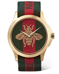 Gucci Le Marché Des Merveilles 38mm Pvd-plated And Striped Canvas Watch - Metallic