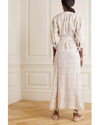 Hannah Artwear + Net Sustain Camellia Belted Floral-print Linen Maxi Dress - Natural