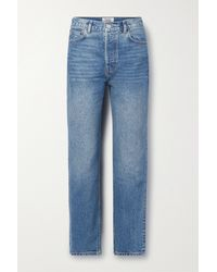 Reformation Cynthia Embroidered High-rise Straight-leg Jeans - Blue