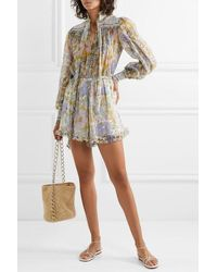 Zimmermann Super Eight Smocked Ruffled Floral-print Silk-chiffon Playsuit - Multicolour