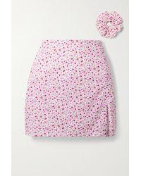MaisonCléo + Net Sustain Sophie Floral-print Cotton Mini Skirt - Pink