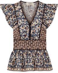 Sea - Gemma Printed Cotton-poplin Peplum Top - Lyst