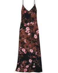 Dries Van Noten Robe Longue En Crêpe De Chine De Soie À Imprimé Fleuri - Noir