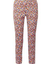 Akris - Frances Cropped Printed Cotton-blend Slim-leg Trousers - Lyst