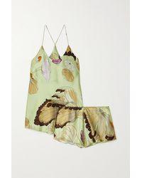 Olivia Von Halle Bella Pyjama Aus Seidensatin Mit Blumenprint - Grün