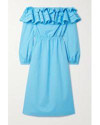 Jason Wu Off-the-shoulder Ruffled Cotton-blend Poplin Midi Dress - Blue