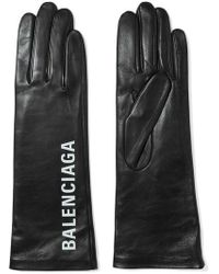 Balenciaga Printed Leather Gloves - Black