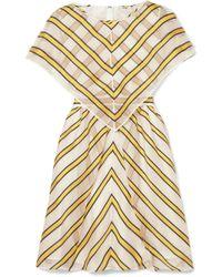 Fendi - Cape-effect Cutout Striped Silk-blend Organza Mini Dress - Lyst
