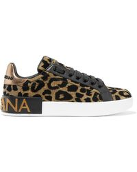 Dolce & Gabbana - Logo-embellished Flocked Textured-lamé And Leather Trainers - Lyst