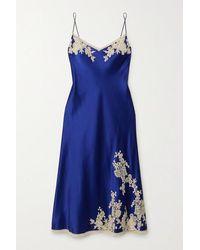 Carine Gilson Nachthemd Aus Seidensatin Mit Spitzenbesätzen - Blau