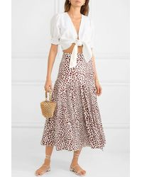 RIXO London Claire Pleated Leopard-print Cotton-blend Midi Skirt - Red