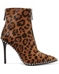Alexander Wang - Eri Studded Leopard-print Calf Hair Ankle Boots - Lyst