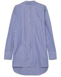 Valentino Oversized Striped Cotton-poplin Shirt - Blue