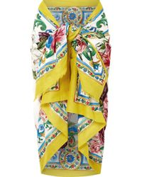 Dolce & Gabbana - Printed Cotton Pareo - Lyst