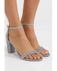Stuart Weitzman Nearlynude Metallic Jacquard Sandals