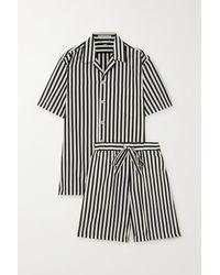 Olivia Von Halle Emeli Pyjama Aus Einer Gestreiften Baumwoll-seidenmischung - Schwarz