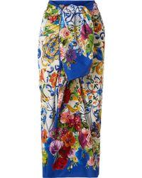 Dolce & Gabbana - Printed Cotton-gauze Pareo - Lyst