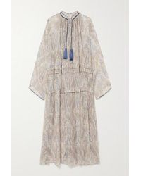 Etro Tasselled Paisley-print Silk-crepon Maxi Dress - Natural