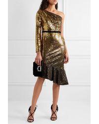 Marchesa notte One-sleeve Velvet-trimmed Sequined Cady Dress - Black