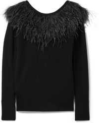 MICHAEL Michael Kors - Feather-trimmed Merino Wool Sweater - Lyst