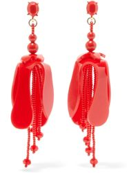 Oscar de la Renta - Orchid Beaded Acetate Earrings - Lyst