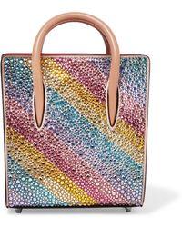 Christian Louboutin - Paloma Nano Embellished Metallic Textured-leather Tote - Lyst