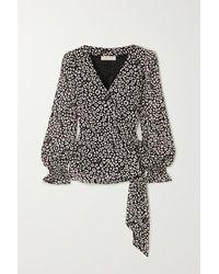 MICHAEL Michael Kors Leopard-print Crepe De Chine Wrap Top - Black