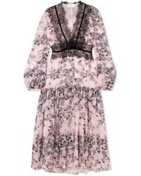 Giambattista Valli - Lace-trimmed Floral-print Silk-chiffon Midi Dress - Lyst