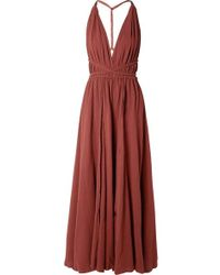 Caravana Hera Leather-trimmed Cotton-gauze Halterneck Maxi Dress - Red