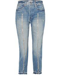 FRAME - Le Original Zip-embellished Frayed High-rise Straight-leg Jeans - Lyst