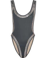 Norma Kamali | Stud Marissa Embellished Swimsuit | Lyst