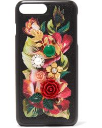 Dolce & Gabbana - Embellished Floral-print Textured-leather Iphone 7 Plus Case - Lyst