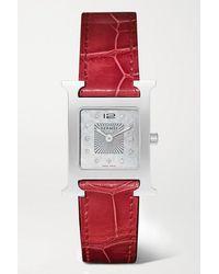 Hermès Heure H 21 Mm Kleine Uhr Aus Edelstahl Mit Diamanten, Perlmutt Und Alligatorlederarmband - Rot