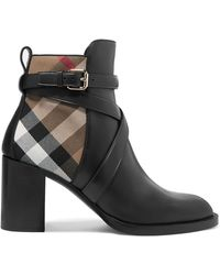 Burberry - Leather And Checked Canvas Ankle Boots - Lyst