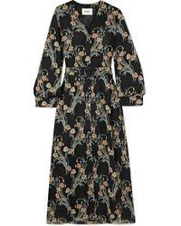 Nanushka Femme Belted Floral-print Crepon Midi Dress - Black
