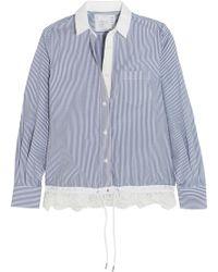 Sacai - Lace-trimmed Striped Cotton-poplin Shirt - Lyst