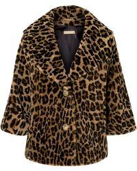 Michael Kors - Leopard-print Shearling Coat - Lyst