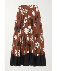 Racil Mara Pleated Floral-print Crepe De Chine Maxi Skirt - Brown