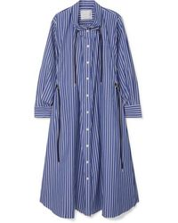 Sacai Gathered Striped Cotton-poplin Midi Dress - Blue