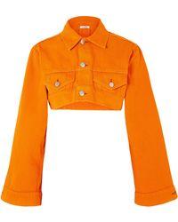 Ganni - Cropped Denim Jacket - Lyst