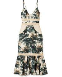 PATBO Robe Midi Tissée Et Imprimée À Finitions En Résille Et En Jute Palm - Vert