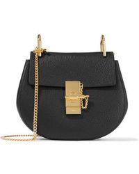 Chloé Drew Leather Shoulder Bag - Black