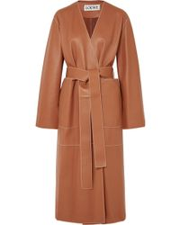 Loewe - Belted Leather Coat - Lyst