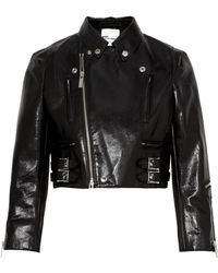 Noir Kei Ninomiya - Cropped Faux Patent-leather Biker Jacket - Lyst